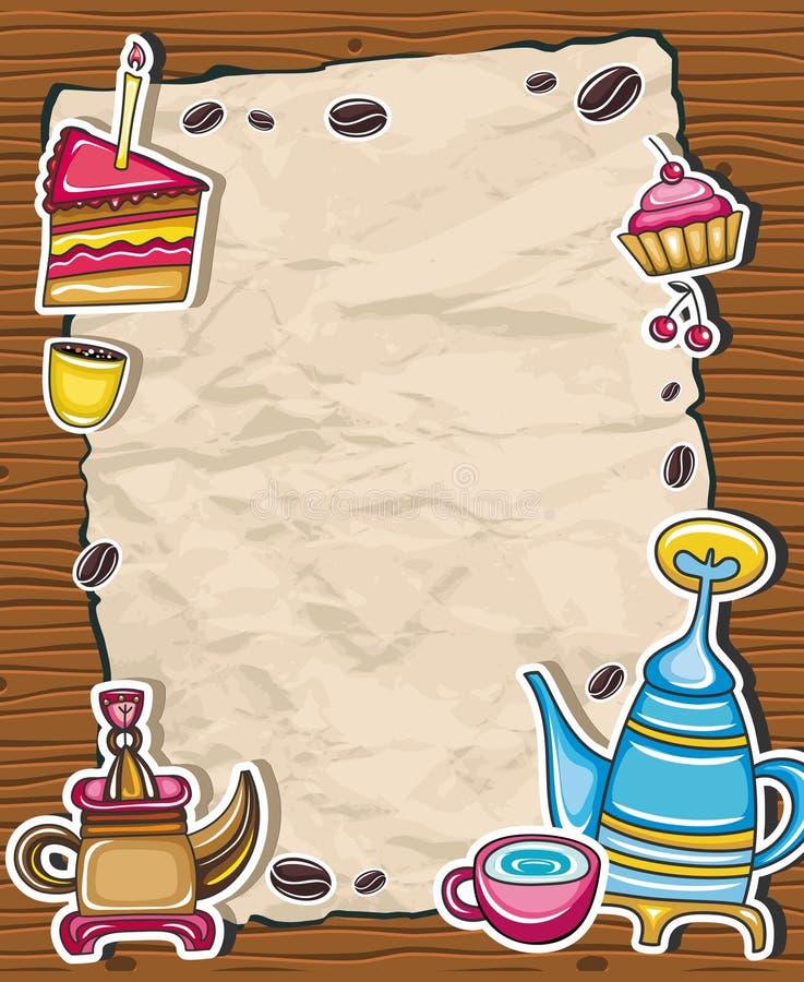 2 kawowa śliczna rama ilustracja wektor