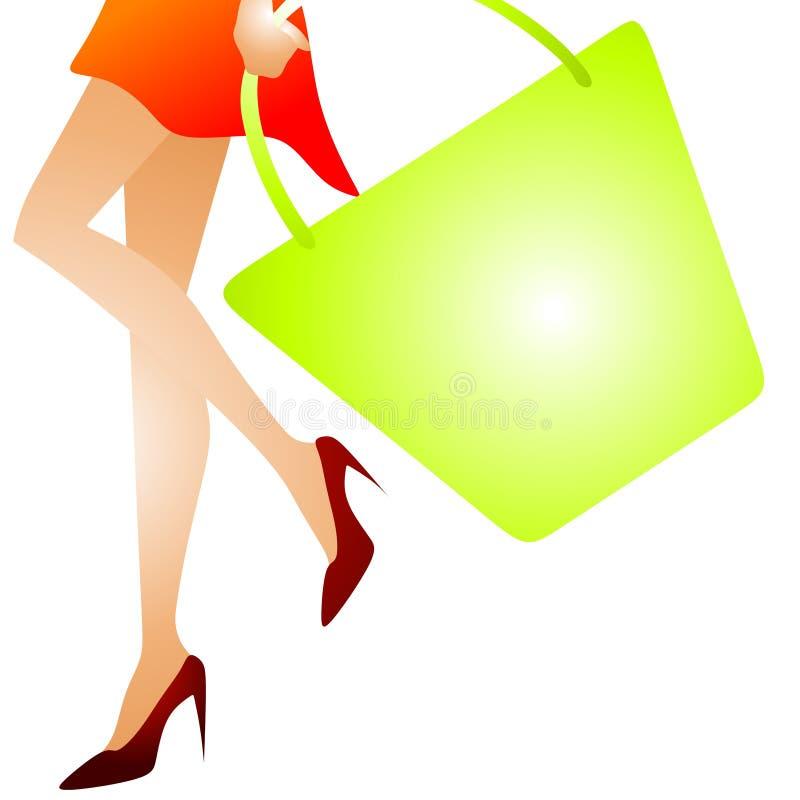 2 kobieta chodząca toreb na zakupy royalty ilustracja
