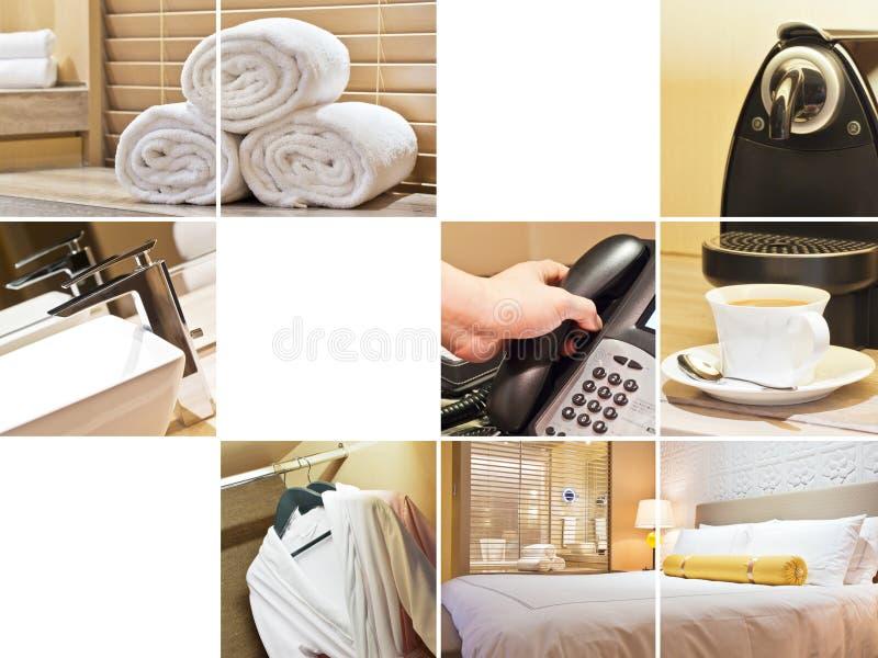 2 kolażu pokój hotelowy fotografia royalty free