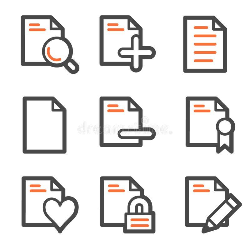 2 konturowych dokumentu szarych ikon pomarańczowa ustalona sieć ilustracja wektor