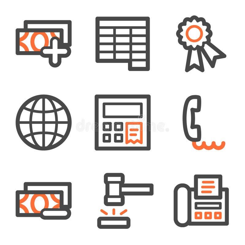 2 konturowych finansowych szarych ikon pomarańczowa ustalona sieć ilustracja wektor