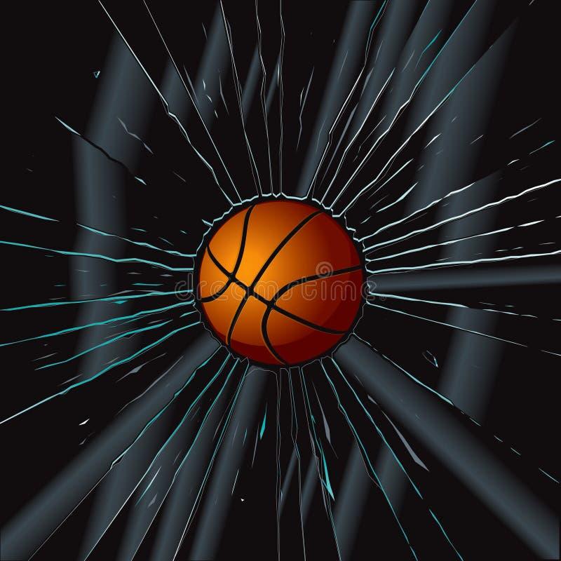 2 koszykówki łamający szkło ilustracji