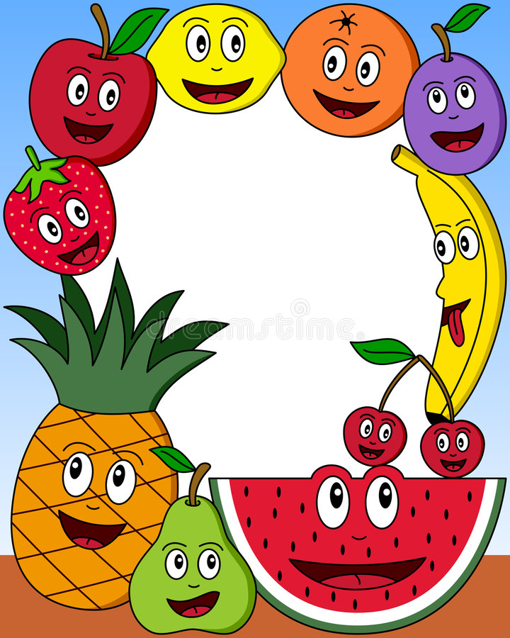 2 kreskówek ramowa owocowa fotografia ilustracji