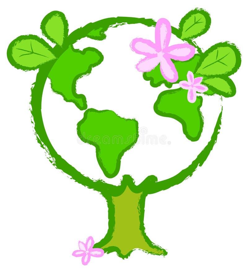 2 kuli ziemskiej stylizowany drzewo royalty ilustracja