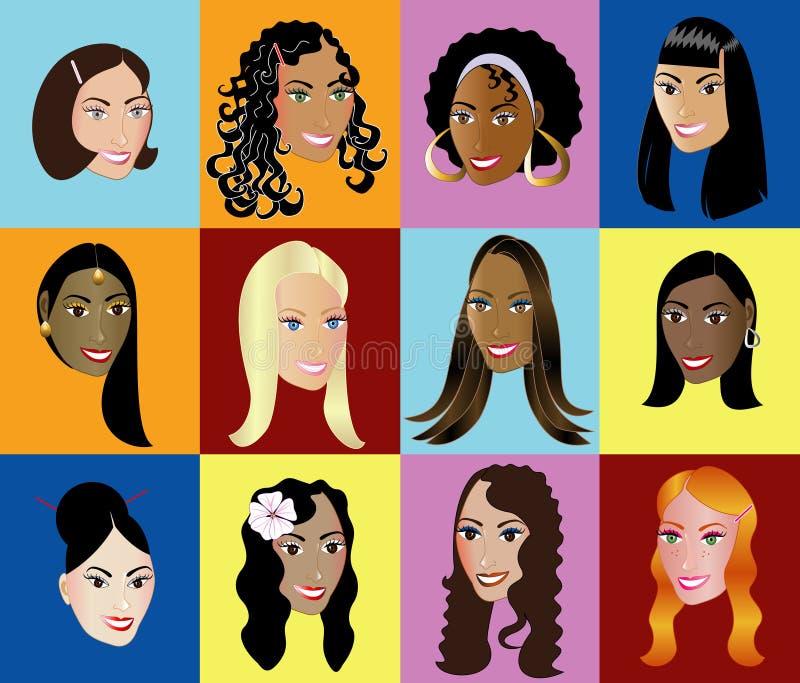 2 kvinnor för framsidor s royaltyfri illustrationer