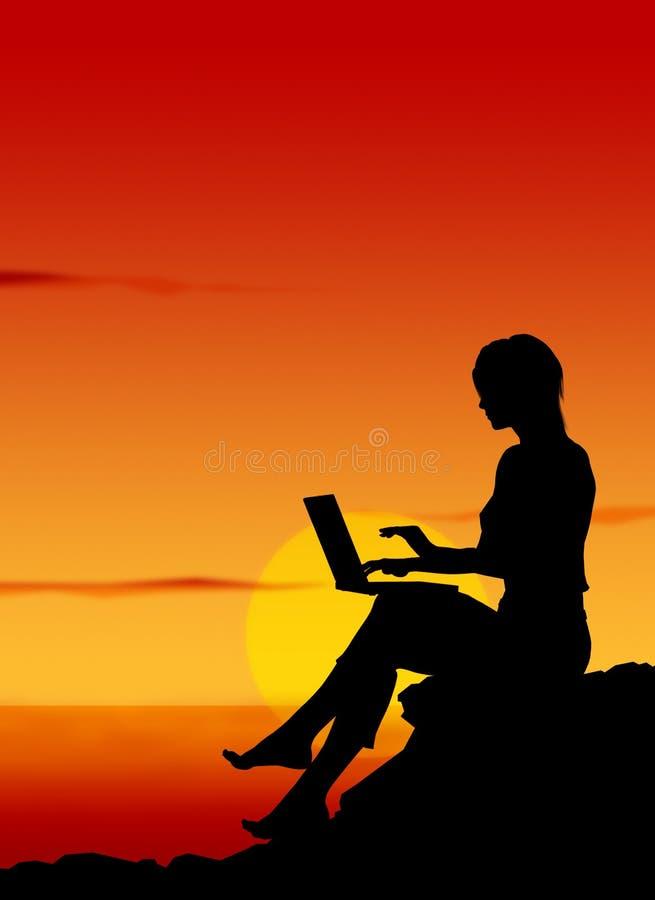 2 laptopa dziewczyn. royalty ilustracja