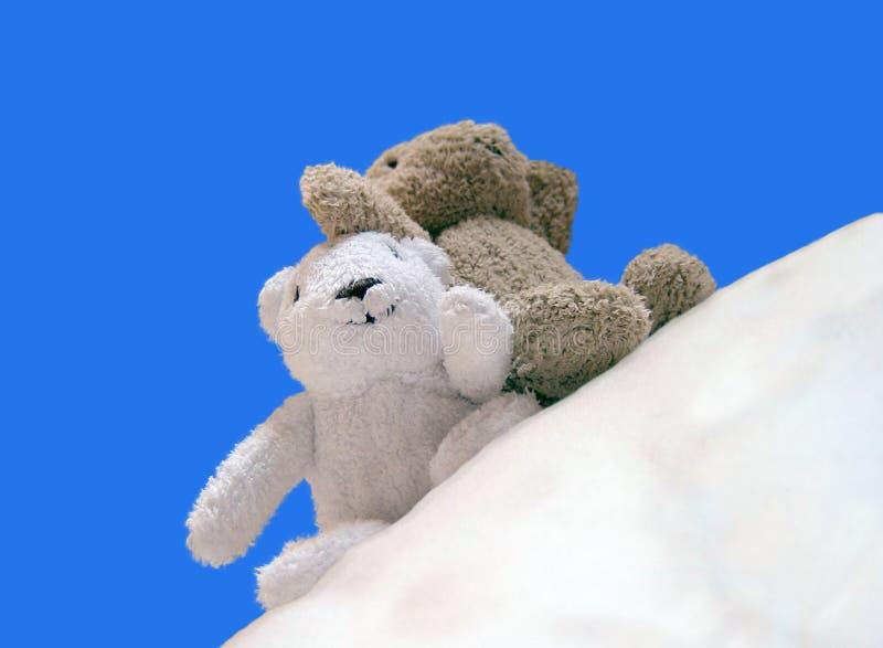 2 lyckliga teddybear arkivbild