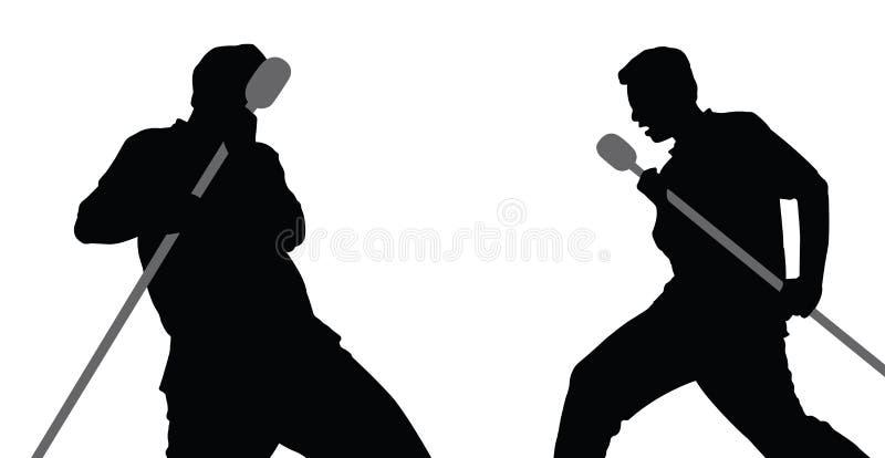 2 mâles chantant le vecteur illustration stock
