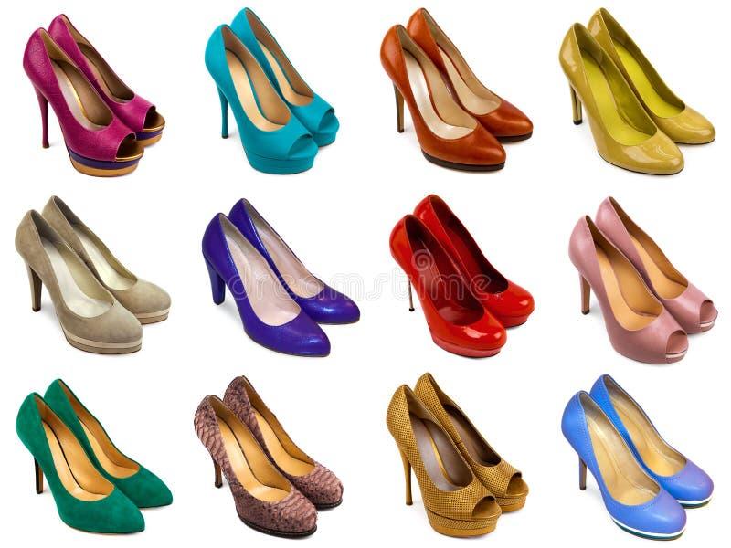 2 mångfärgade skor för kvinnlig arkivfoto