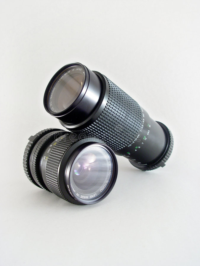 2 macro lentilles d'isolement image stock