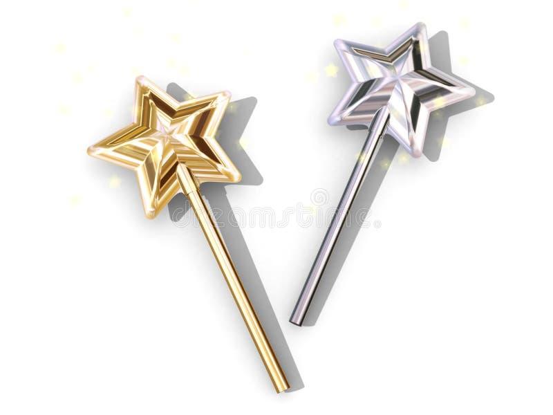 2 magiska sticks royaltyfri illustrationer