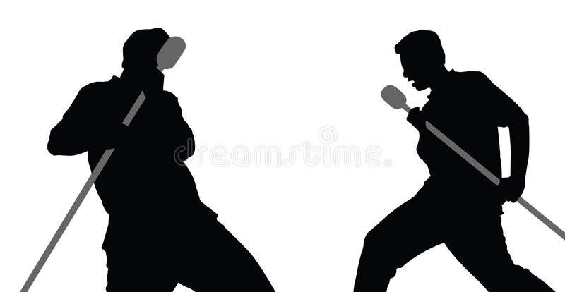 2 males singing vector stock illustration