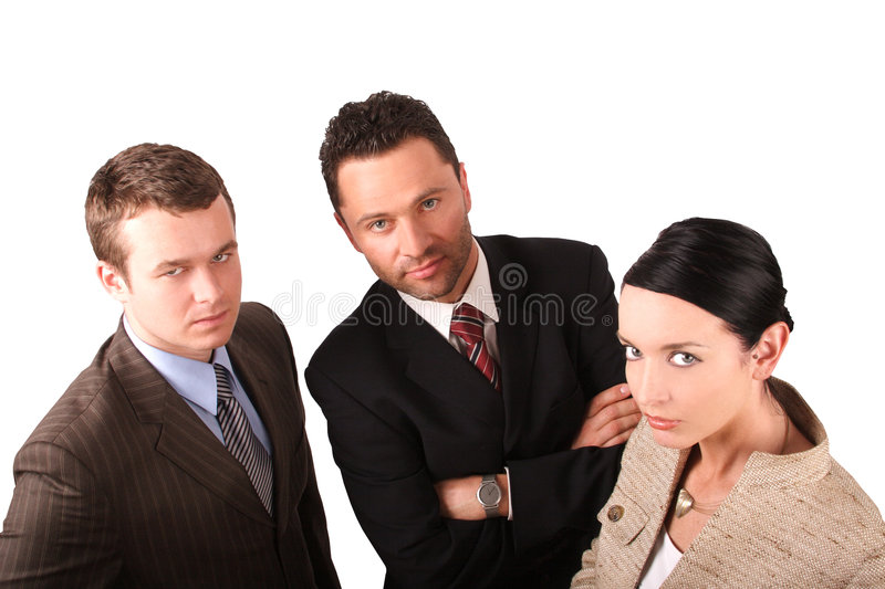 2 men 1 woman business team 2 - isolated. Group of 3 business people - isolated royalty free stock images