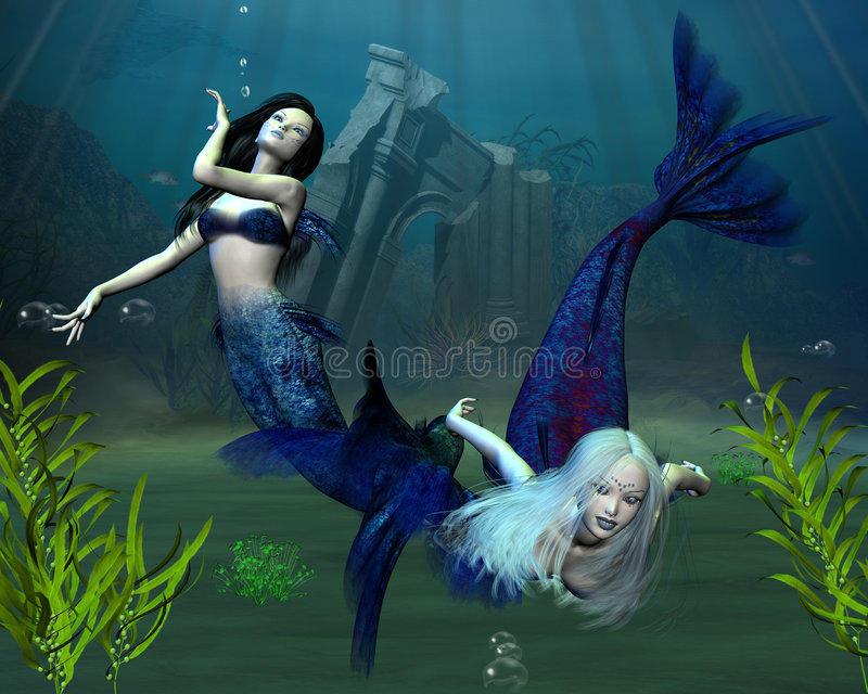 2 mermaids иллюстрация штока