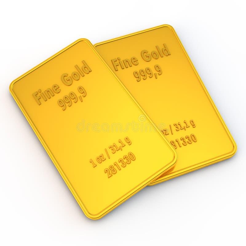 2 mini barras de oro - 1 onza ilustración del vector