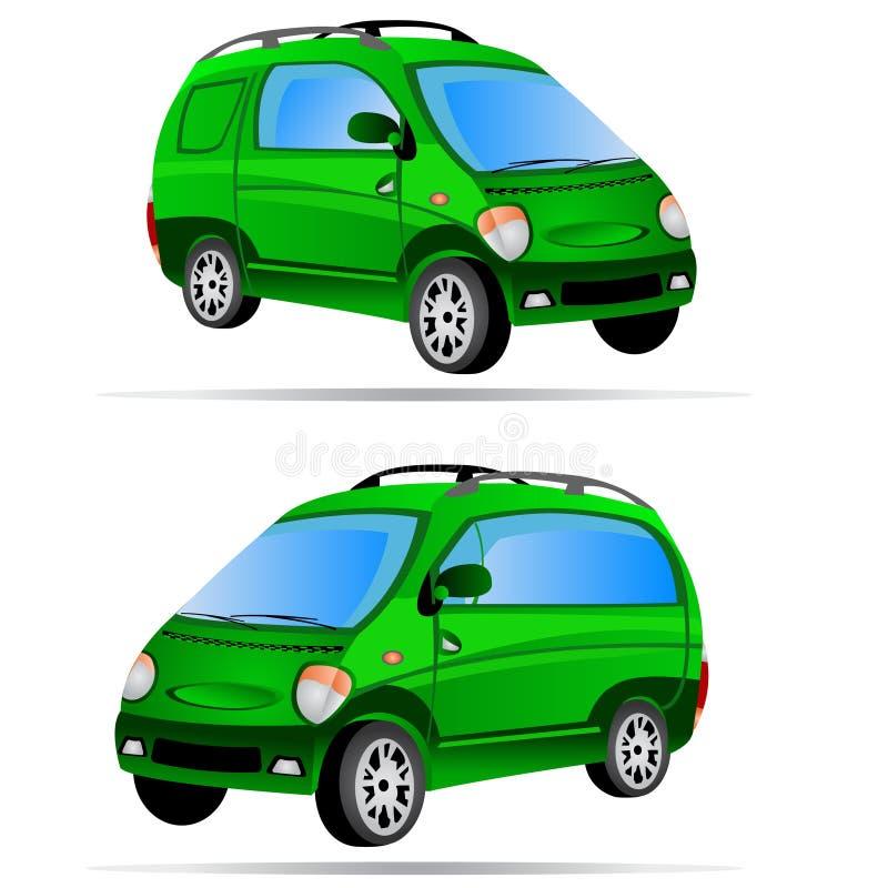2 minivan cars. Vector illustration of two minivan car icons isolated on white background stock illustration