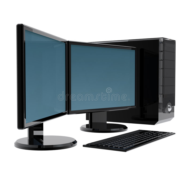 Free 2 Monitors Computer Isolated Royalty Free Stock Image - 7174866