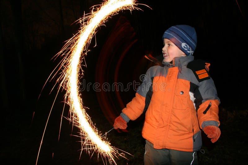 2 moving sparkler dzieci fotografia royalty free