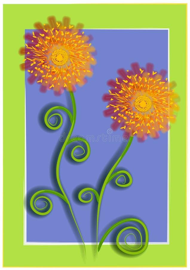 2 niebieski kwiat zielone unikalny ilustracji