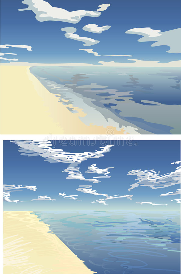 2 niekończące się na plaży wektora ilustracji