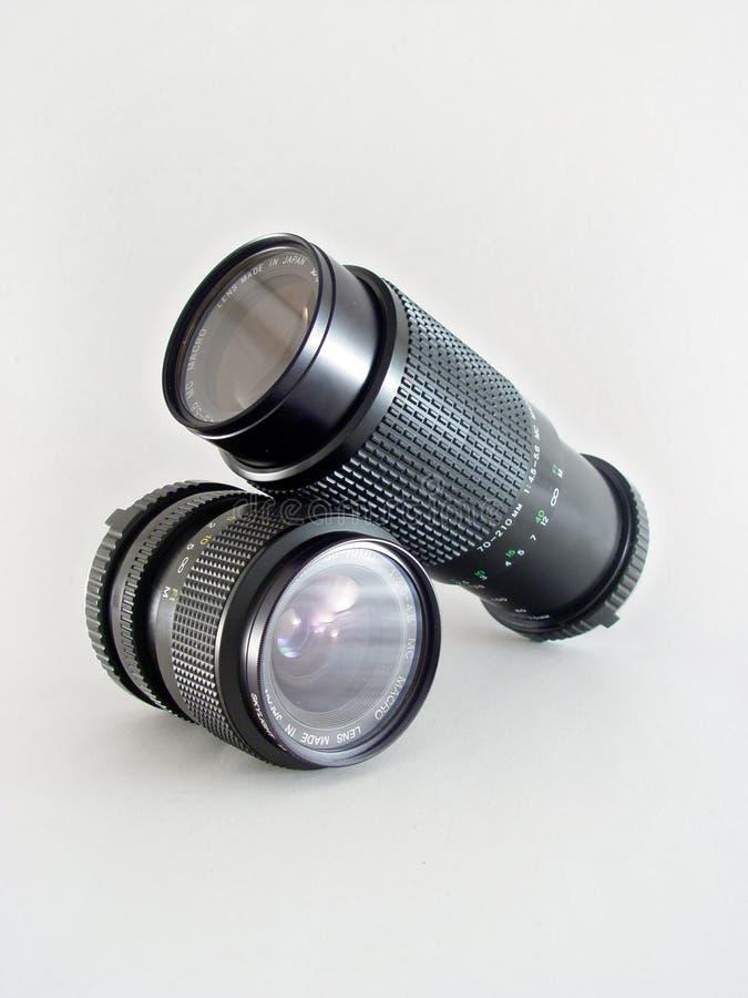 2 odizolowane soczewek makro obraz stock