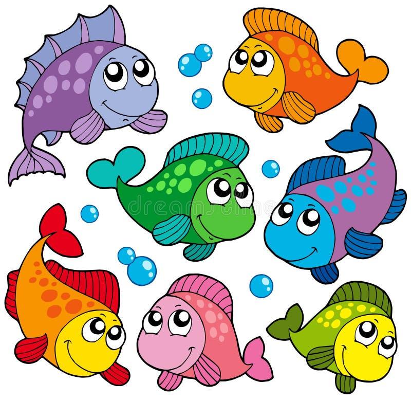 2 olika gulliga fiskar för samling stock illustrationer