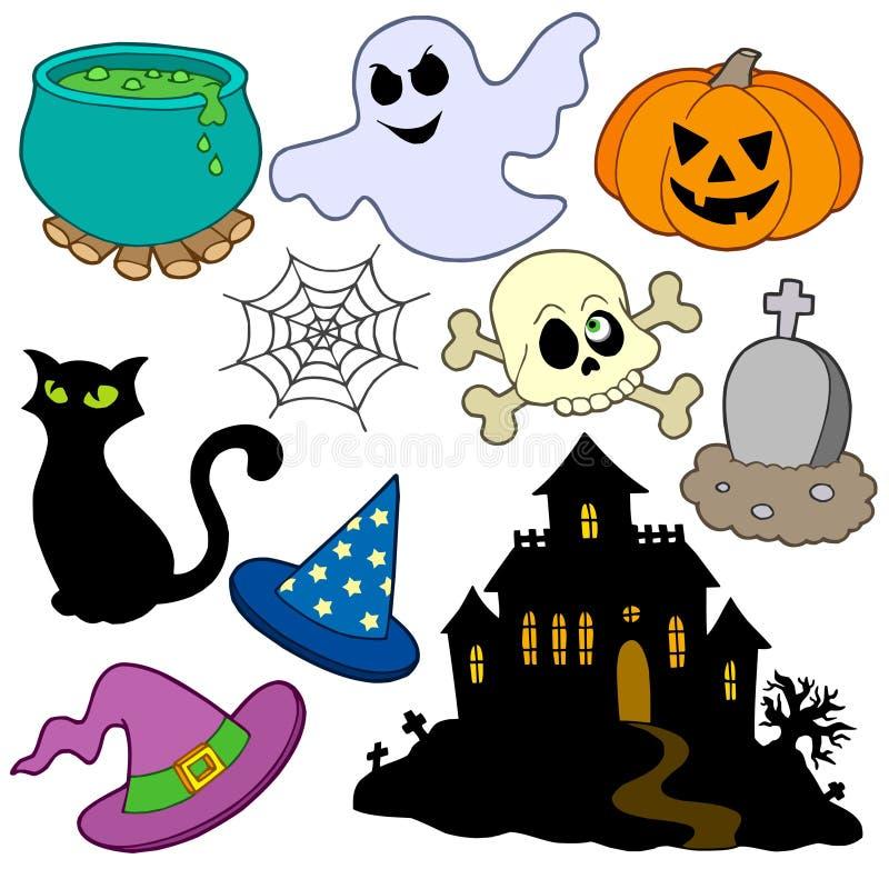 2 olika halloween bilder stock illustrationer