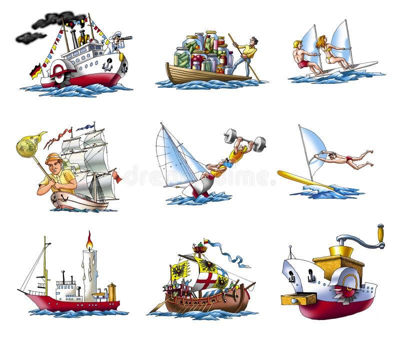 2 olika ships royaltyfri illustrationer