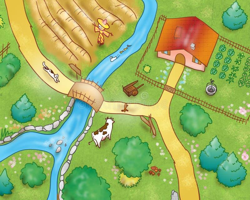 2 ovanför bygdsikt vektor illustrationer