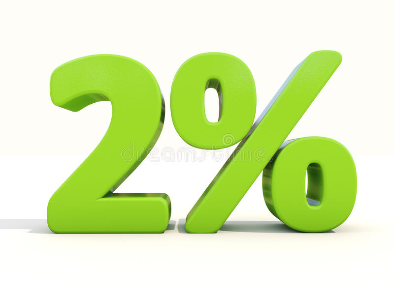 2% percentage rate icon on a white background. Two percent off. Discount 2%. 3D illustration stock photos