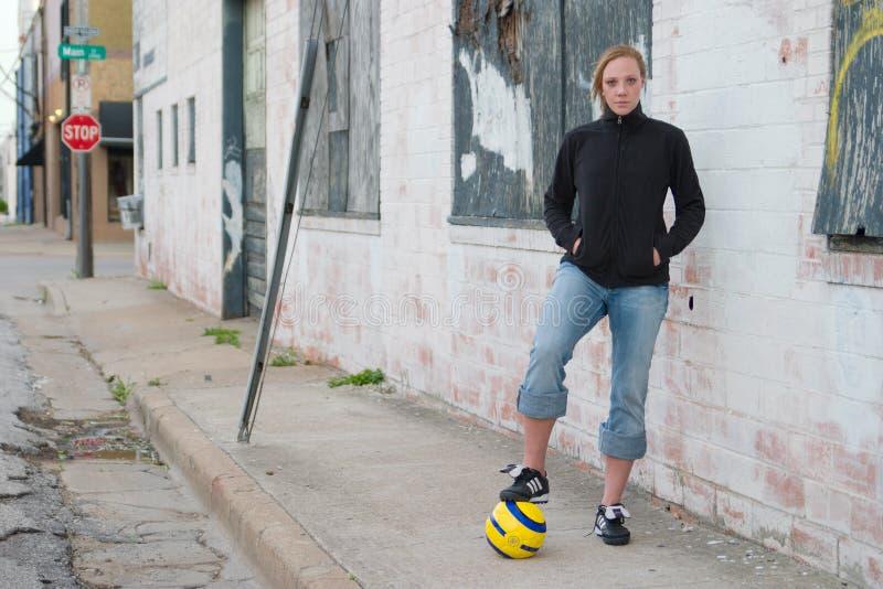 2 piłka nożna miejskiej dziewczyn obrazy stock