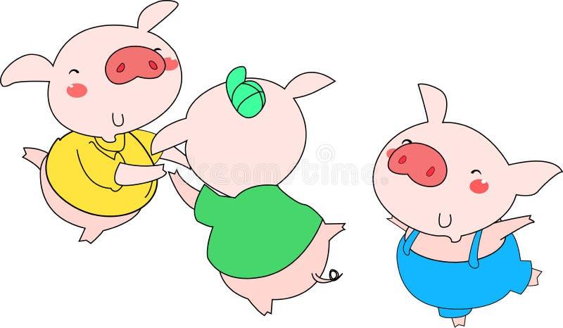 2 pigs tre vektor illustrationer