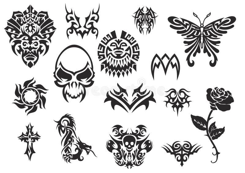Download 2 Plemienny Ustalony Tatuaż Ilustracji - Ilustracja złożonej z sylwetka, dekoracyjny: 7810171