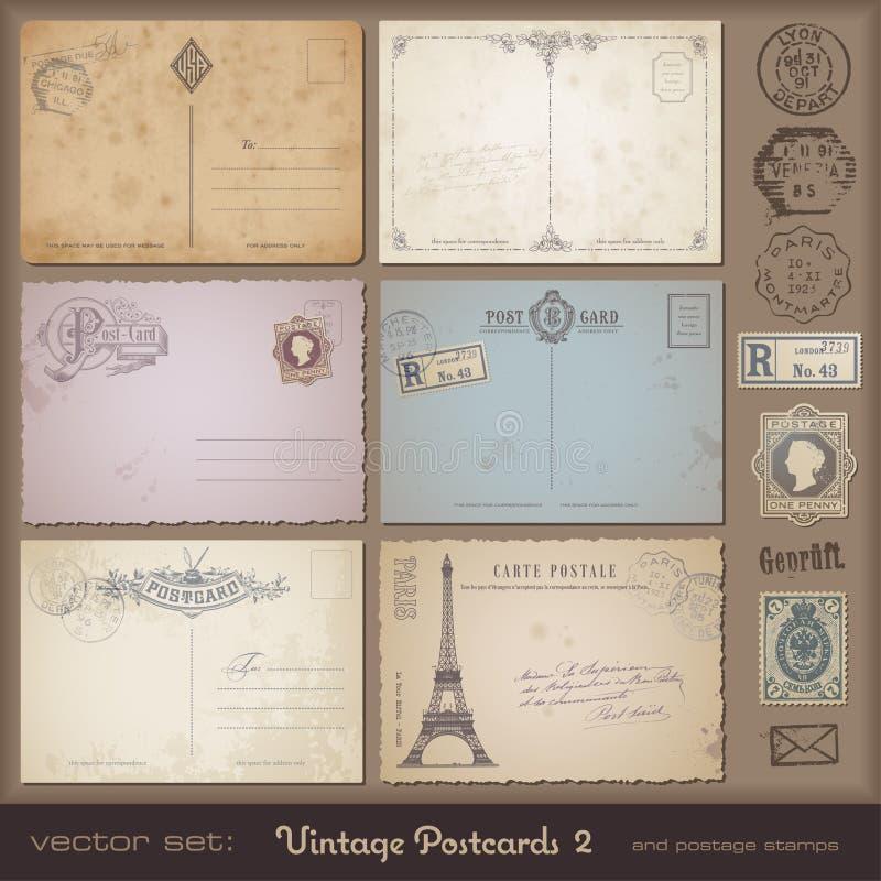 2 pocztówek rocznik royalty ilustracja