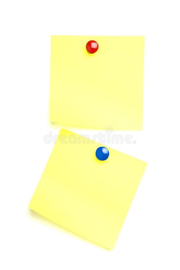Free 2 Post It Notes With Drawing Pins. Royalty Free Stock Image - 7874296