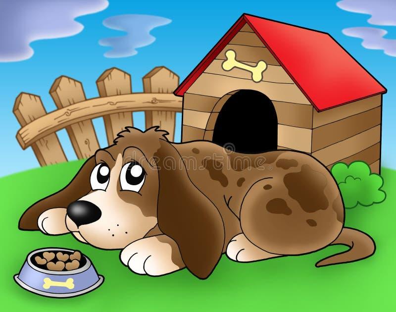 2 psa frontowa psiarnia smutna ilustracja wektor