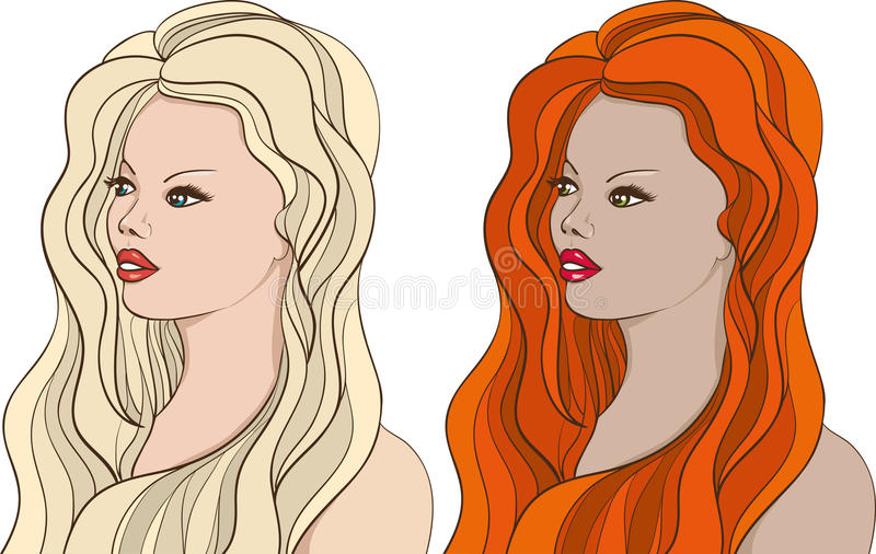 2 raparigas bonitas ilustração do vetor