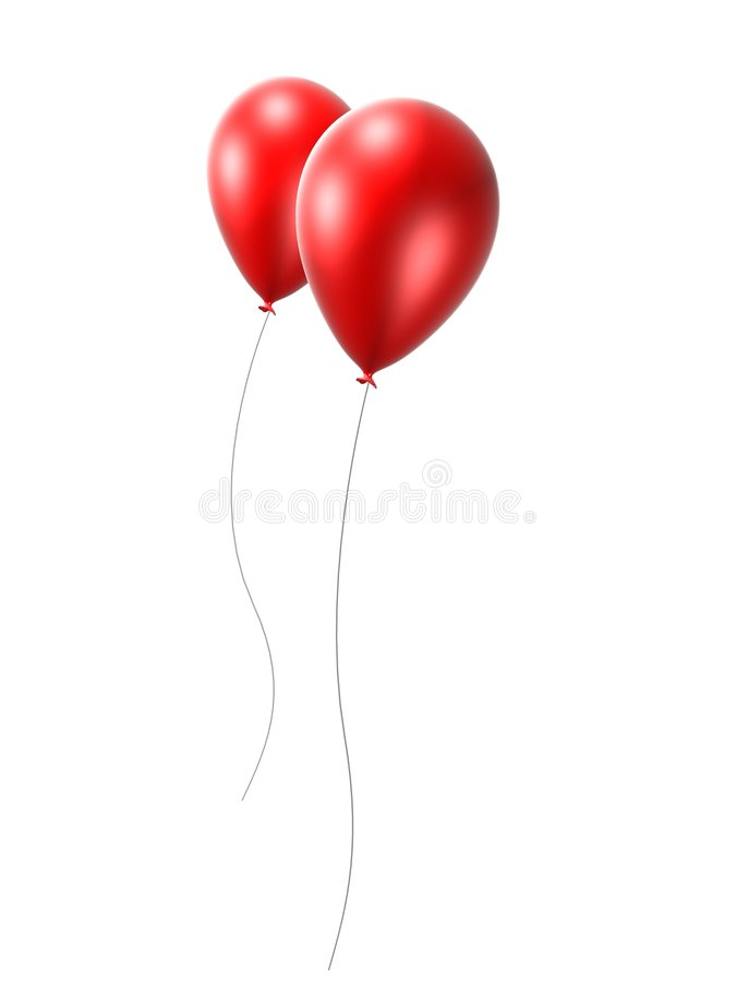 2 Red Balloon Stock Image
