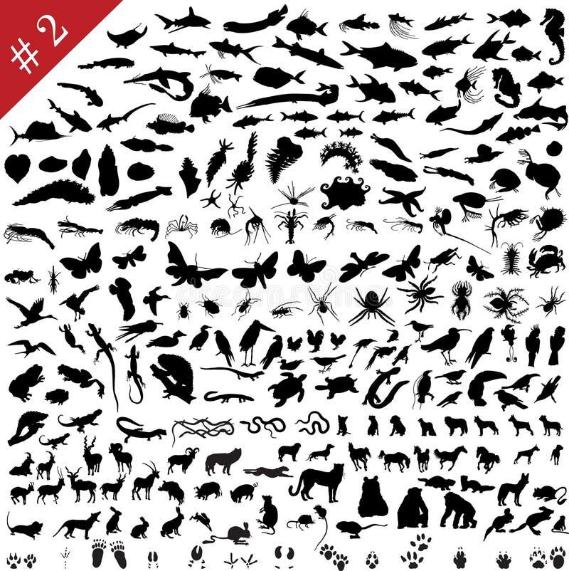 # 2 reeks dierlijke silhouetten vector illustratie