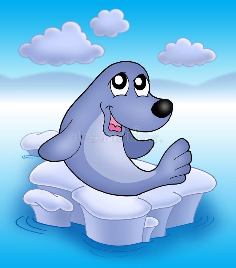2 słodka lodowej seal ilustracja wektor