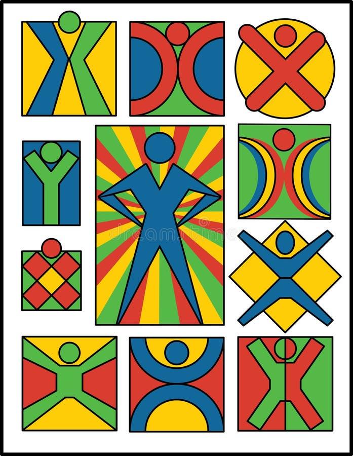 2 samlingslogofolk royaltyfri illustrationer