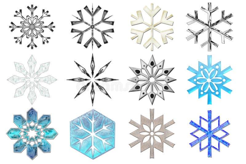 2 samlingssnowflakes stock illustrationer