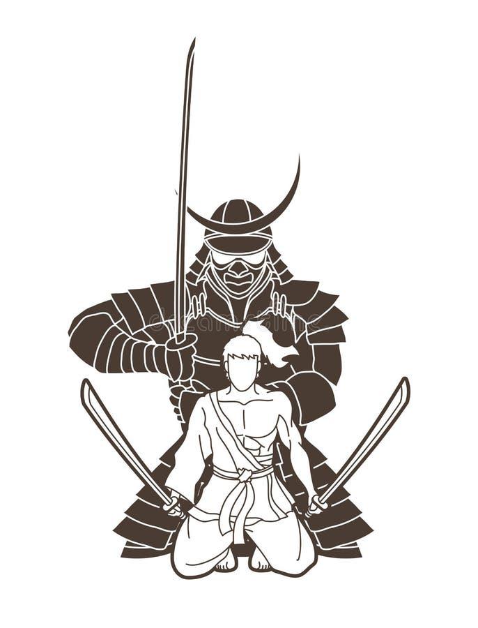 Free 2 Samurai Composition With Swords Cartoon Graphic Stock Photos - 158617623