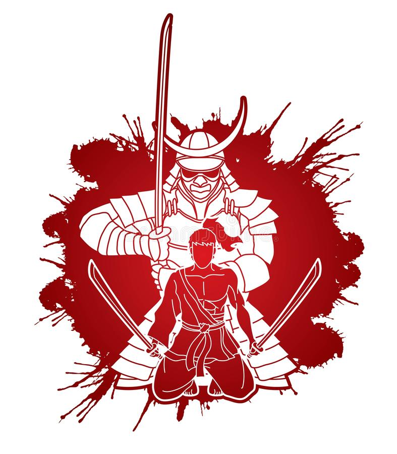 Free 2 Samurai Composition With Swords Cartoon Graphic Royalty Free Stock Photo - 158617625