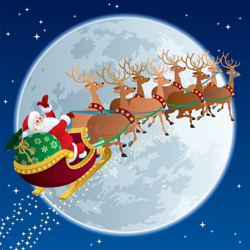 2 santa sleigh royaltyfri illustrationer