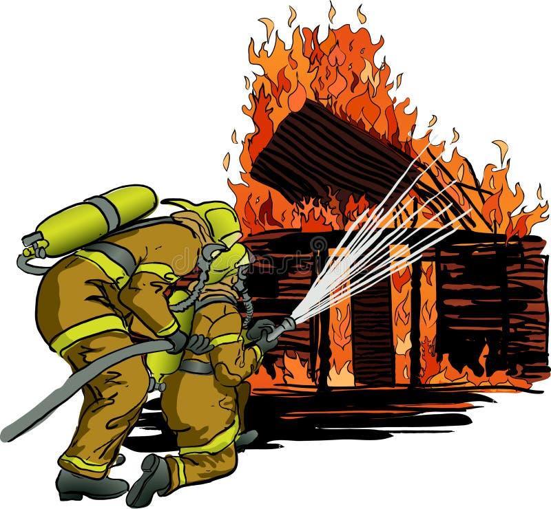 2 sapeurs-pompiers dans l'action illustration libre de droits