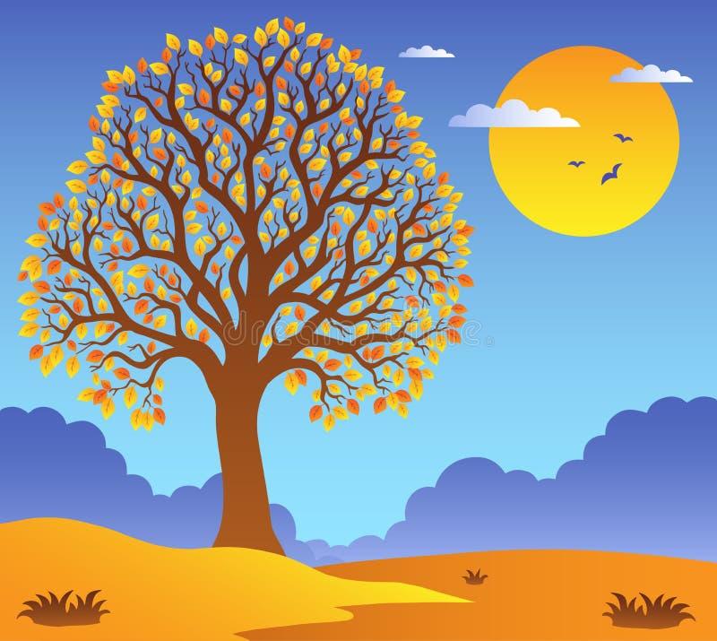2 scenerii obfitolistny drzewo ilustracja wektor