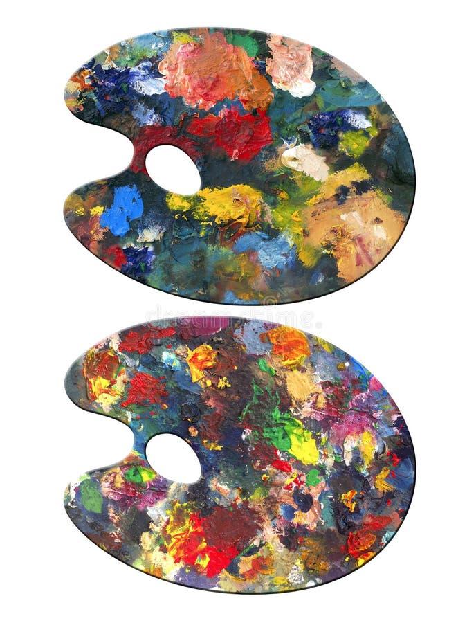 2 schilderspaletten stock afbeeldingen