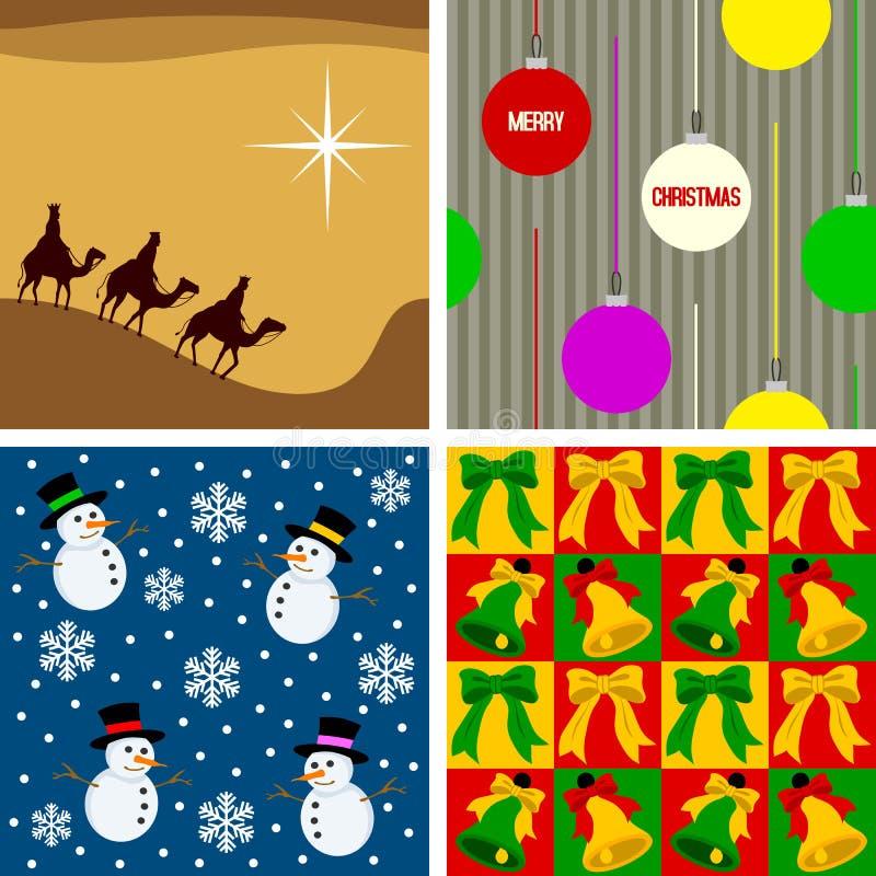 2 seamless tegelplattor för jul royaltyfri illustrationer