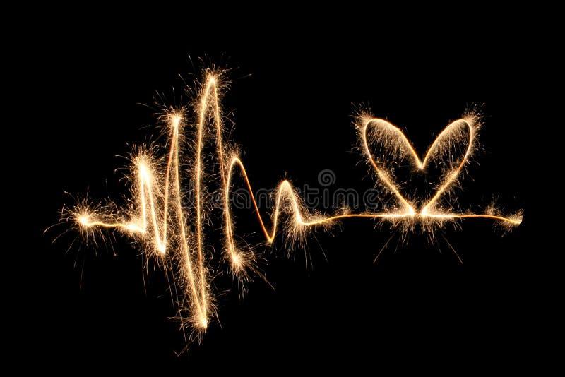 2 serc sparkler fale zdjęcie stock